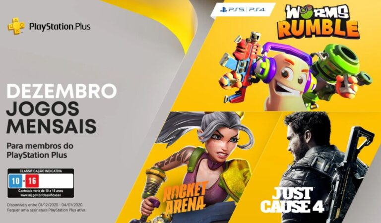 PS Plus 2020: Dezembro virá com Worms Rumble, Just Cause 4 e Rocket Arena